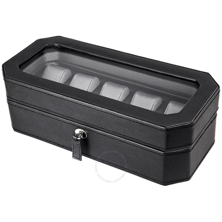 Wolf Design 5pc Black Watch Box 4583029