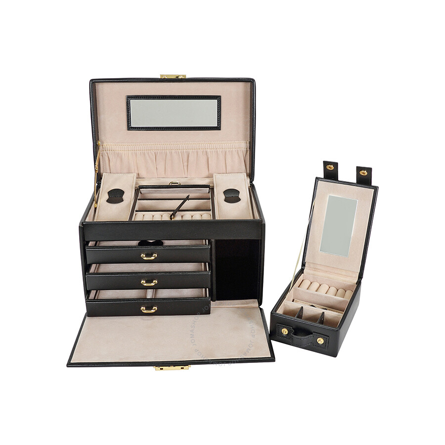 Wolf Heritage Chelsea Large Jewelry Box with Travel Case in Black
