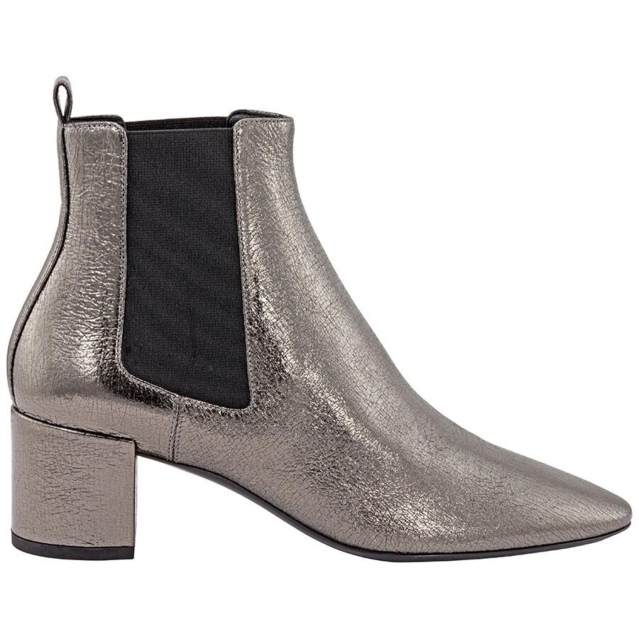 1f0cd66a6d3 Saint Laurent Loulou Metallic Ankle Boots - Designer Footwear Sale ...