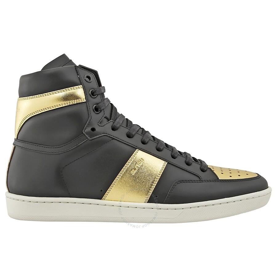 696c6d095ed Saint Laurent Men's Court Classic SL/10H High Top Black/Gold Sneaker
