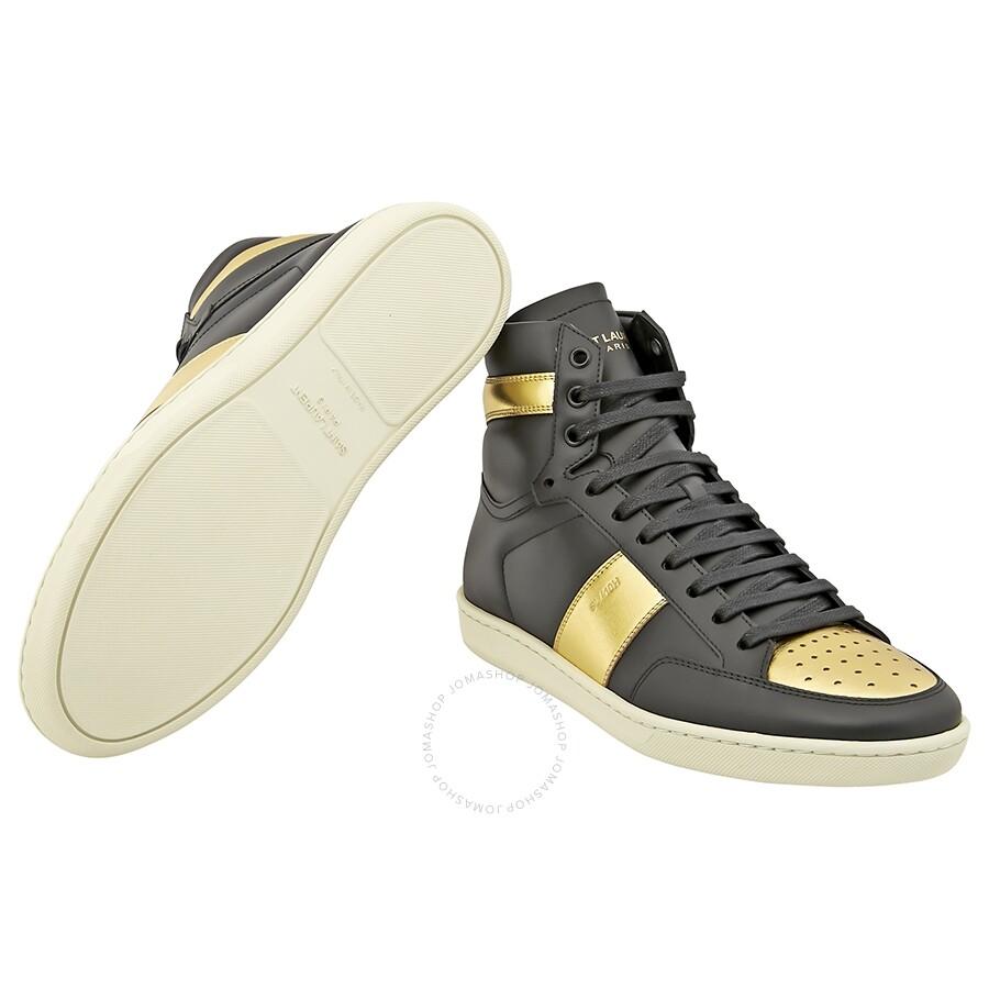 7d8cae01a88 ... Saint Laurent Men's Court Classic SL/10H High Top Black/Gold Sneaker ...