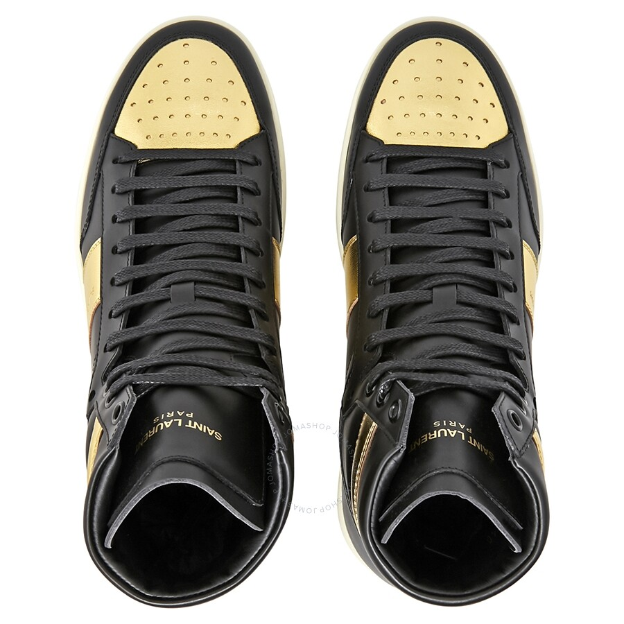8f8c11c3a6f8 ... Saint Laurent Men s Court Classic SL 10H High Top Black Gold Sneaker ...