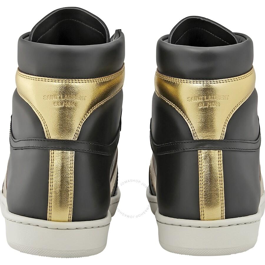 d48e0bc4d53 ... Saint Laurent Men's Court Classic SL/10H High Top Black/Gold Sneaker
