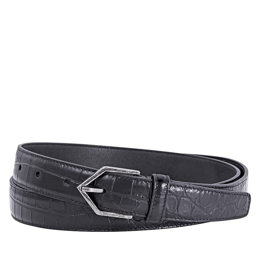 d253281af56 Saint Laurent Men's Crocodile-Embossed Leather Belt