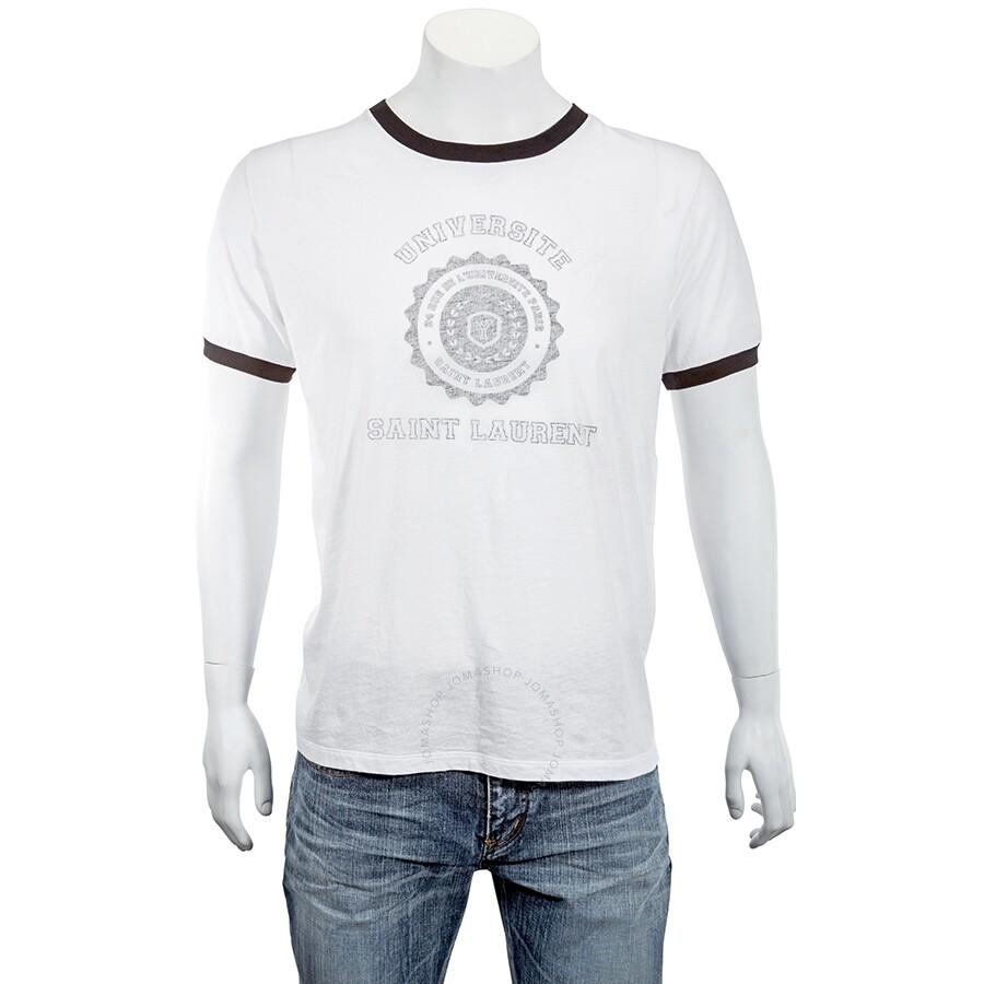 3d7b0024 Saint Laurent Men's White and Black Short Sleeve T-Shirt- Size L ...