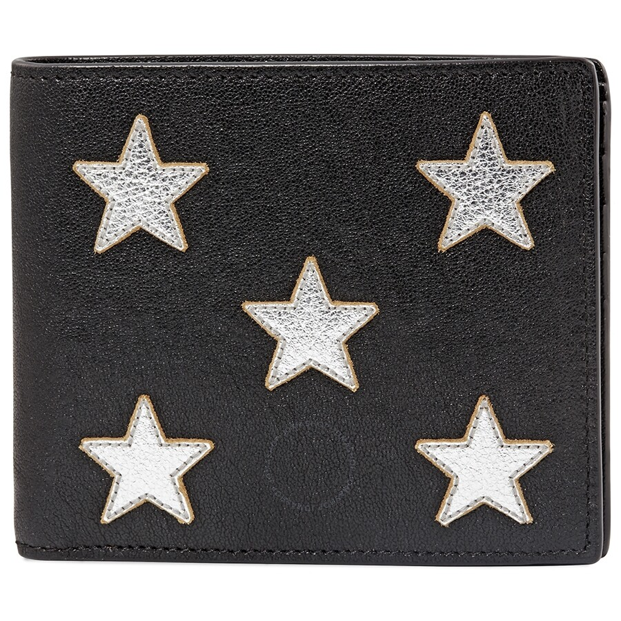 super popular d62e7 83d1e Saint Laurent Metallic-Star Leather Bi-Fold Wallet- Black/Silver