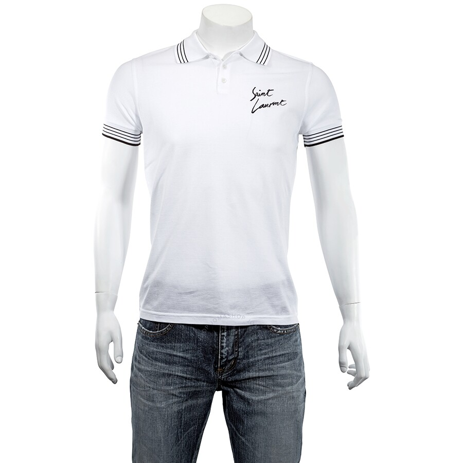 51ae417f Saint Laurent Polo Shirt in White and Black Pique Cotton- Size L ...