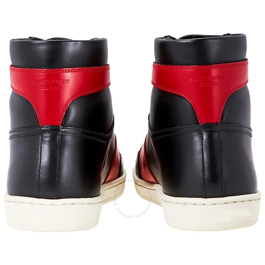 ab746c6ad5a Saint Laurent Signature High Top Black/Red Sneaker - Designer ...
