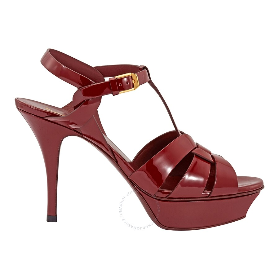 fd5f43f5a5f Saint Laurent Tribute Sandal in Smooth Burgundy Leather - Shoes ...