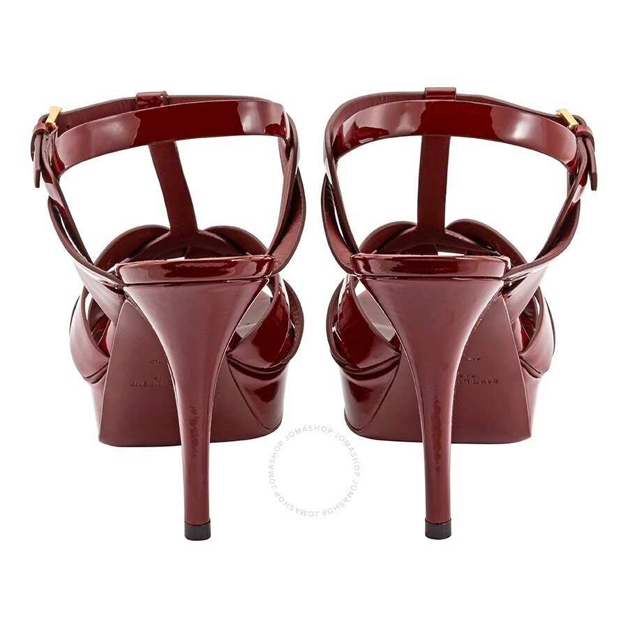 900e9aaaf78d Saint Laurent Tribute Sandal in Smooth Burgundy Leather - Shoes ...
