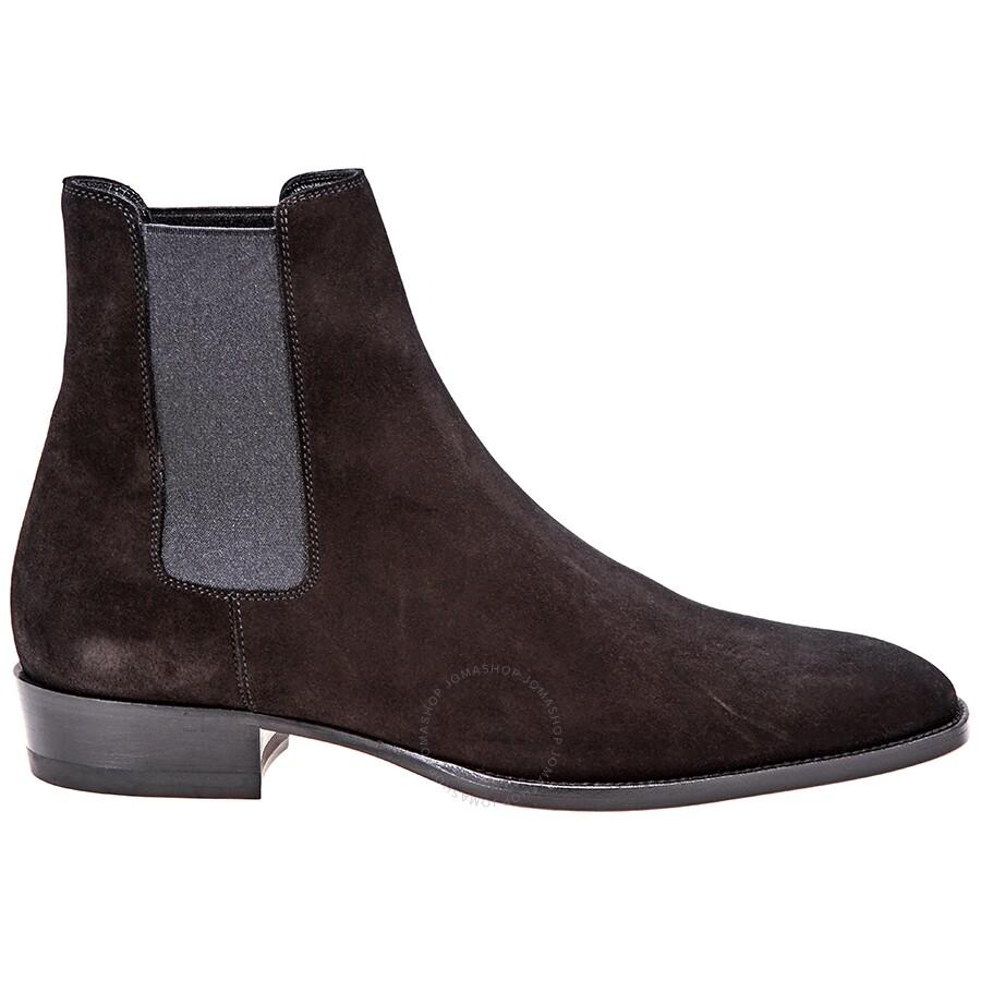 3367a1f5a35 Saint Laurent Wyatt Chelsea Boots in Black Suede - Designer Footwear ...