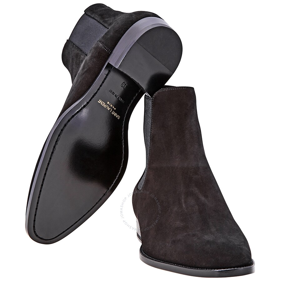 1c301d04bda Saint Laurent Wyatt Chelsea Boots in Black Suede - Designer Footwear ...