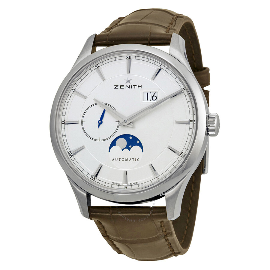 Zenith captain moonphase silver dial automatic men 39 s watch 03214369101c498 captain zenith for Zenith watches