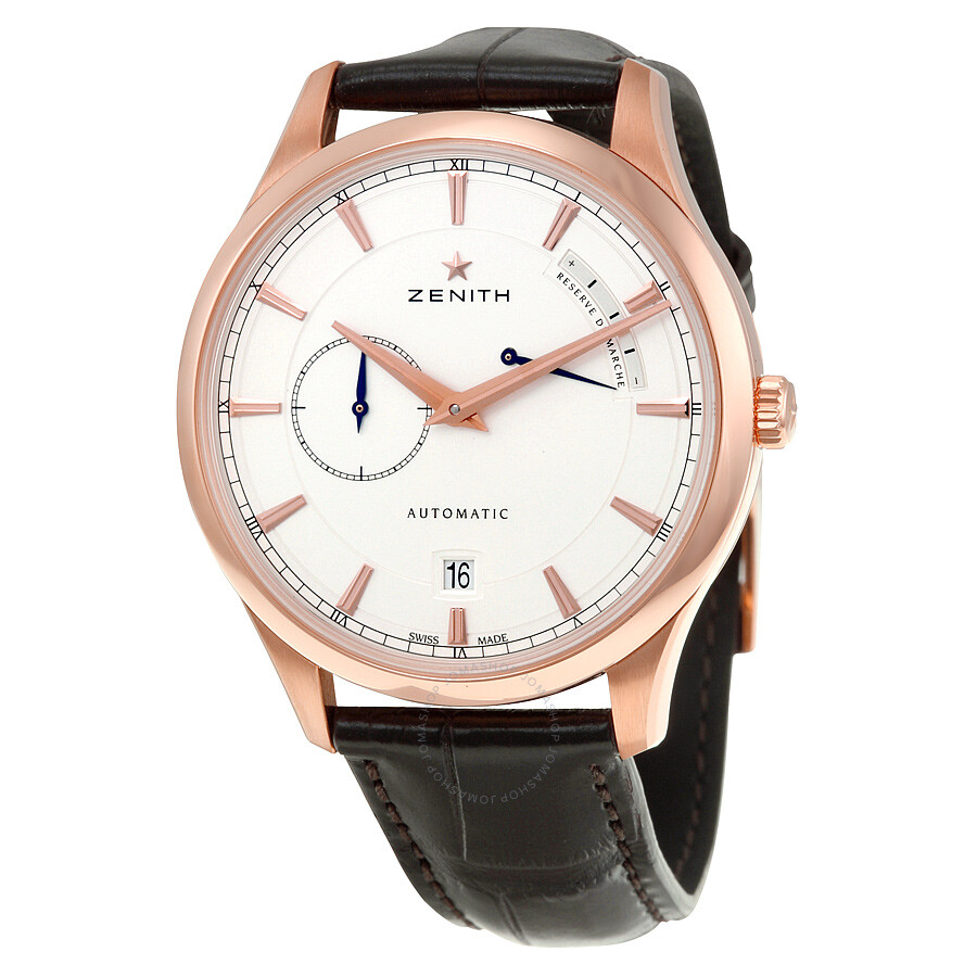 Zenith captain power reserve silver dial 18kt rose gold men 39 s watch 18212168501c498 captain for Zenith watches