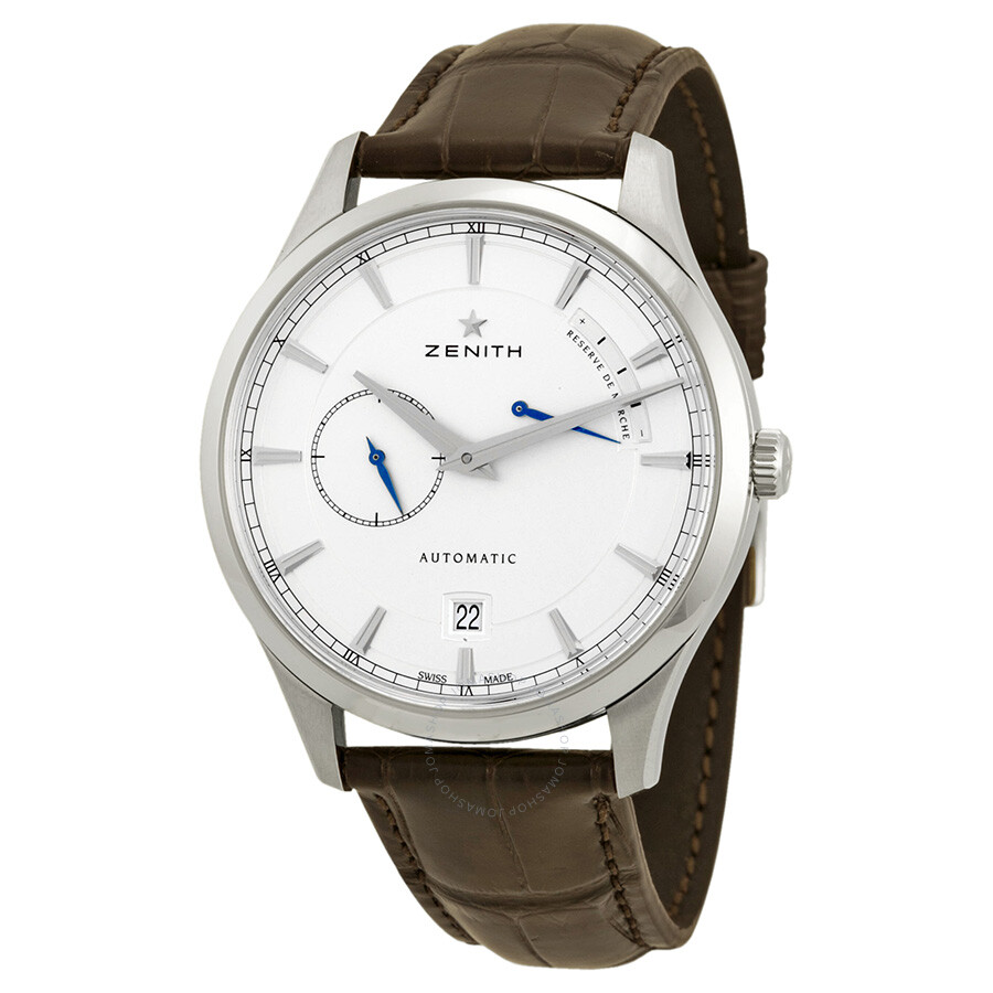 Zenith captain power reserve silver dial brown alligator leather men 39 s watch 03212268501c498 for Zenith watches