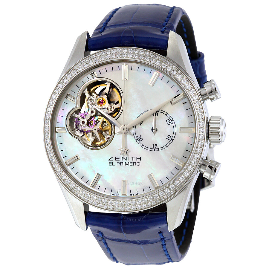 Zenith chronomaster mother of pearl dial diamond automatic ladies watch 162150406281c754 el for Zenith watches