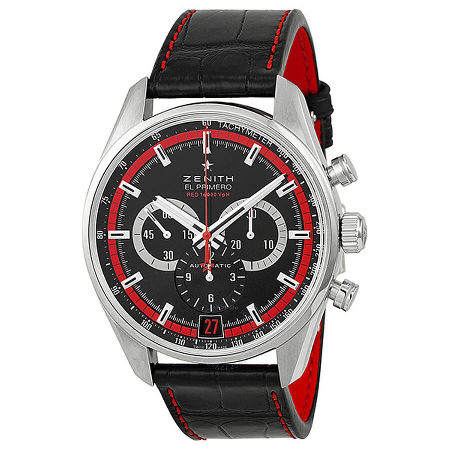 reputable site 61abb 5c5d2 Zenith El Primero 36000 VPH Black Dial Black Leather Men's Watch  03.2043.400/25.C703