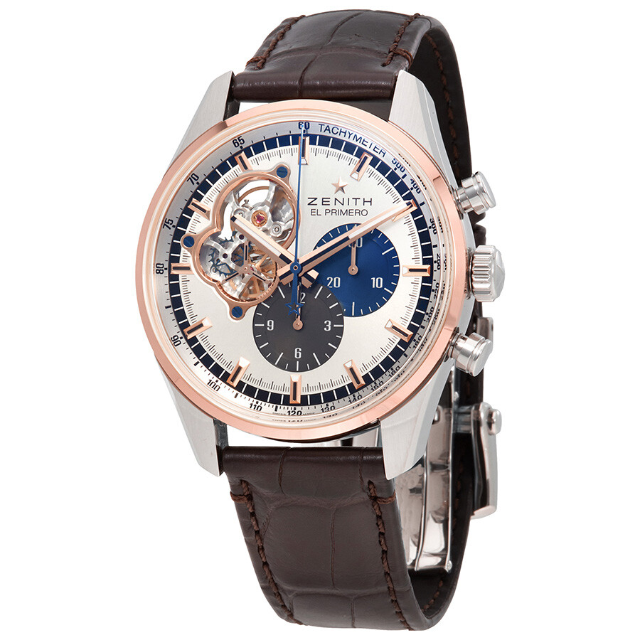 Zenith el primero auto chronograph 18kt rose gold stainless steel case men 39 s watch for Zenith watches