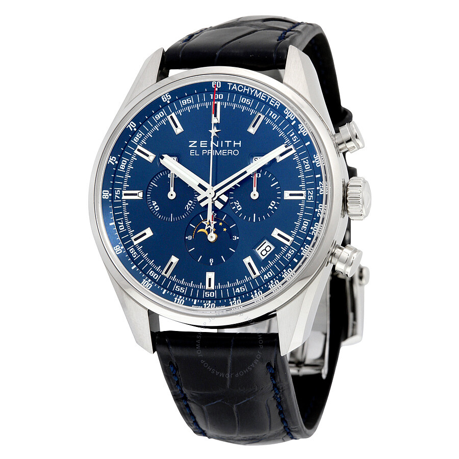 Zenith el primero automatic moonphase blue dial blue leather men 39 s watch for Zenith watches