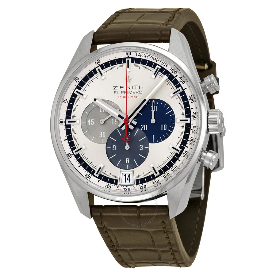 zenith watches jomashop zenith el primero chronograph silver dial brown leather men s watch
