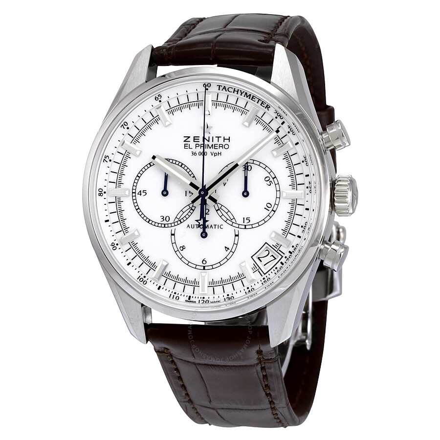 Zenith el primero chronograph white dial brown leather men 39 s watch 03208040001c49 el primero for Zenith watches