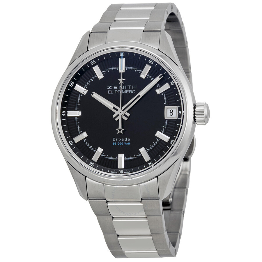 Zenith el primero espada black dial stainless steel men 39 s watch el for Zenith watches