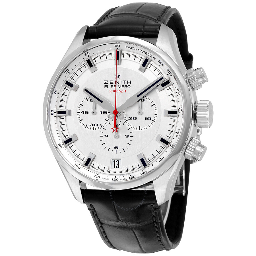 Zenith el primero sport chronograph automatic silver dial brown leather men 39 s watch for Zenith watches
