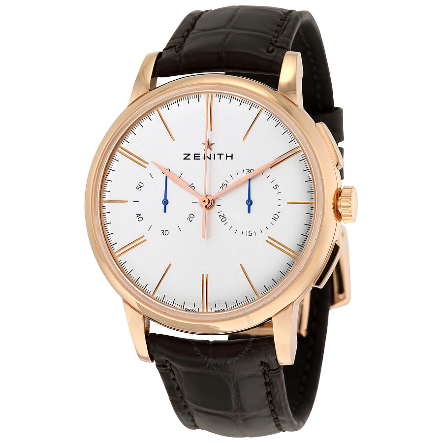 Zenith pilot elite chronograph silver dial 18kt rose gold brown alligator leather men 39 s watch 18 for Zenith watches