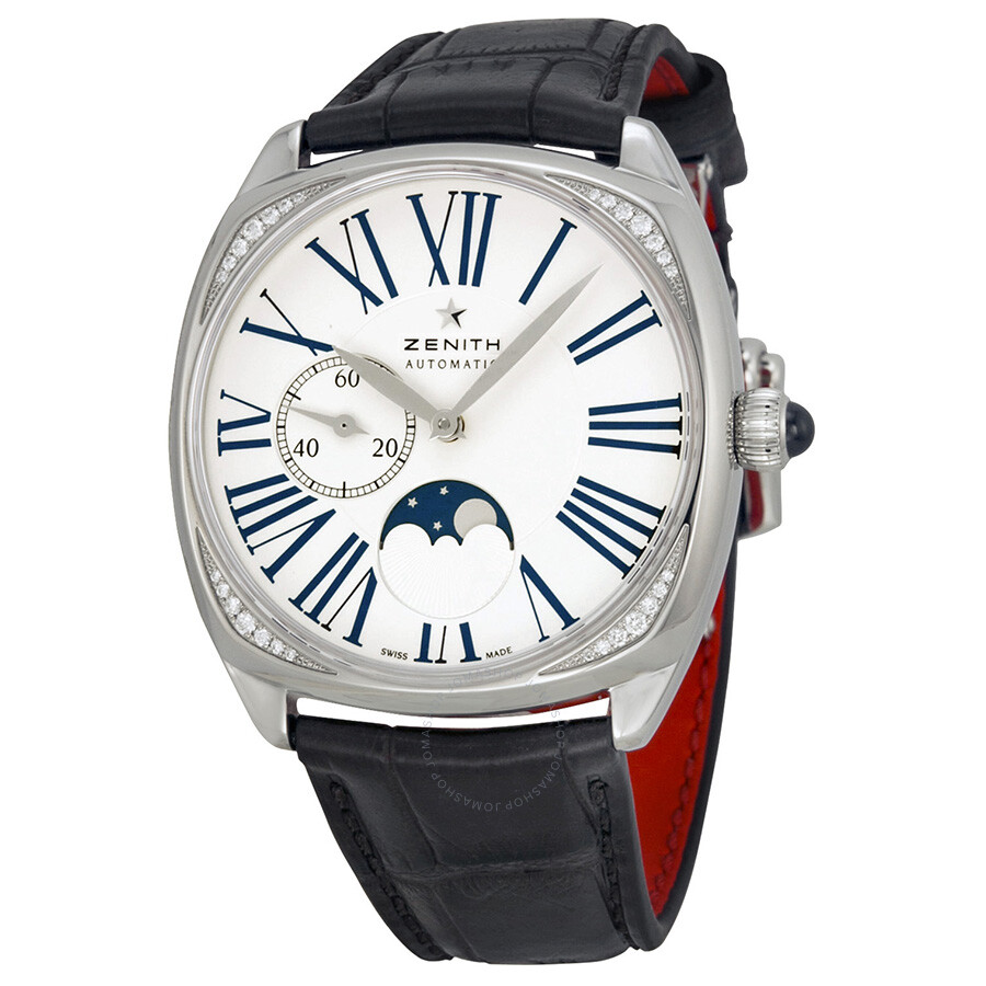 Zenith elite heritage star moonphase silver dial brown leather ladies watch for Zenith watches