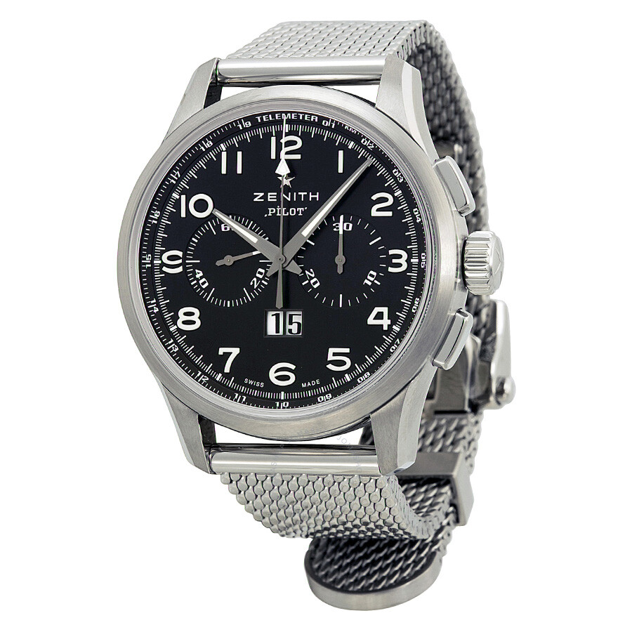 zenith pilot automatic chronograph black dial stainless steel zenith pilot automatic chronograph black dial stainless steel men s watch 032410401021m2410